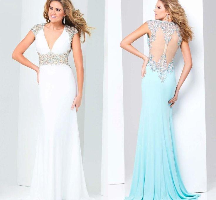 2015 Backless Evening Dress Sheath Satin Deep V Neck Winter Formal Dresses Crystal Beaded Applique Sash Evening Gown, $262.94 | DHgate.com