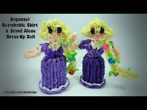 Rainbow Loom Princess Rapunzel Standing Dress Up Doll with Detachable Skirt. Designed and loomed by Kate Schultz of Izzalicious Designs. Skirt Design inspired by Craft Life lip balm case. Click photo for YouTube tutorial. 04/18/14.
