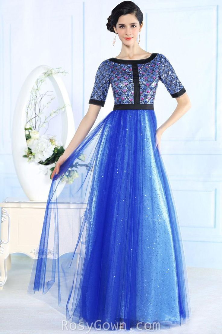 #sparkling sequins beaded blue #evening #prom formal #dress with half sleeves