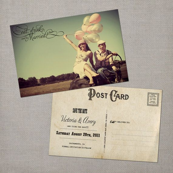 save the date postcard. vintage.