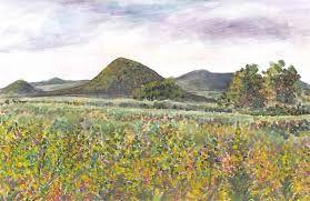 Lipská hora (phonolite), České středohoří, North Bohemia. Watercolor by Jana Haasová