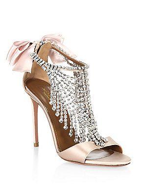 Gorgeous embellished wedding shoes! Aquazzura Fifth Avenue Crystal Satin  Sandals #ad #shoes #
