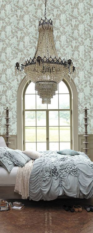 Oh my, I'm in love with wall, chandelier, bedding, everything in this room!