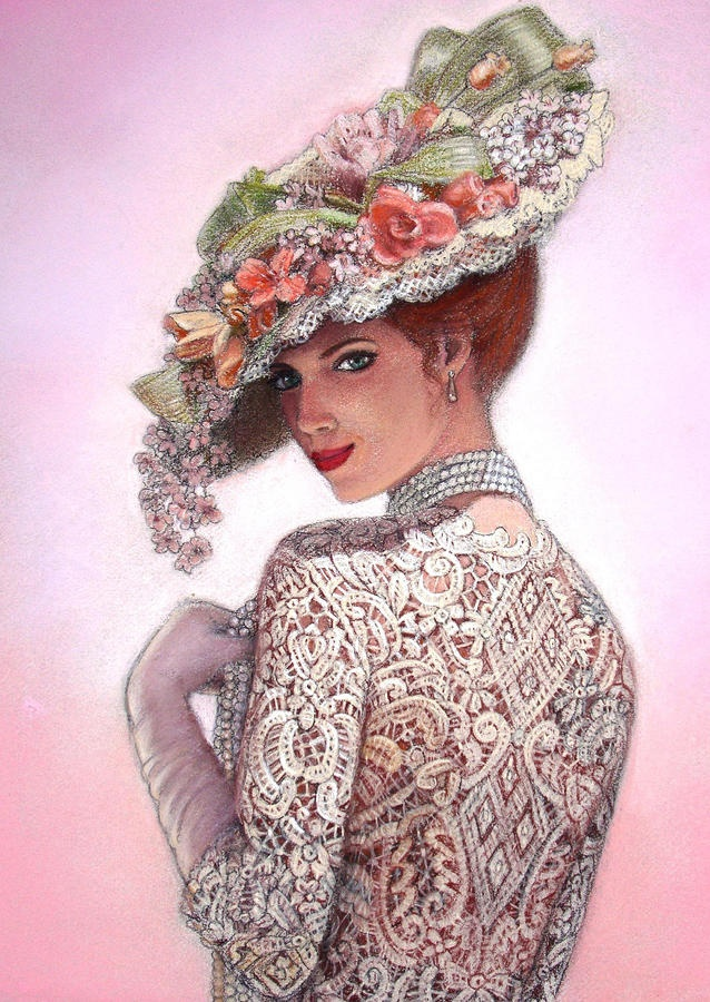 The Look of Love, Victorian Fashion Lady Fine Art Print by Sue Halstenberg