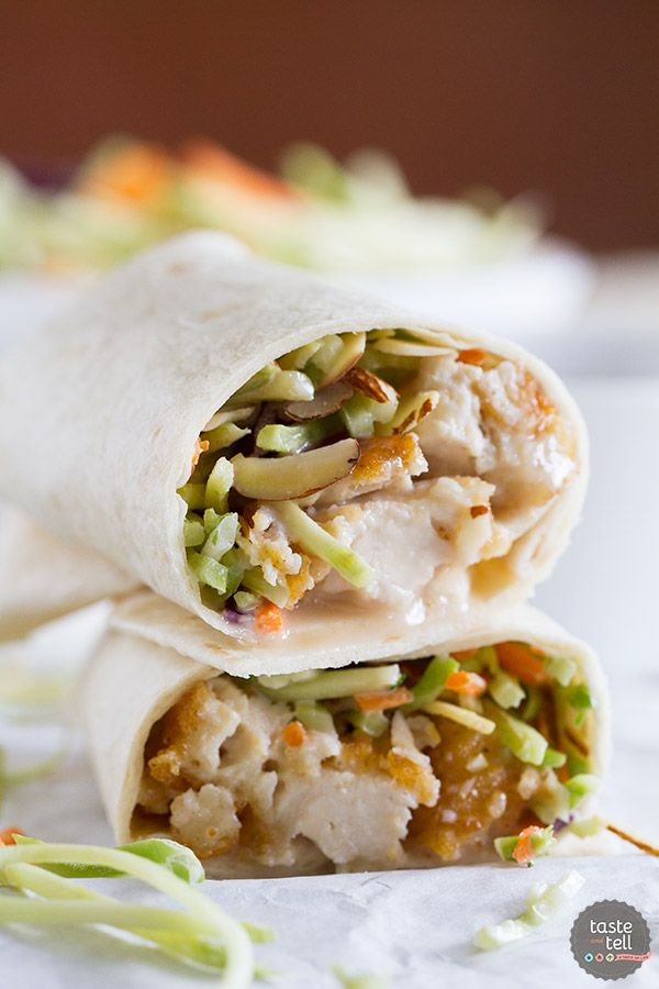 A salad in a tortilla! These Honey-Sesame Chicken Salad Wraps are a great idea for an easy weeknight dinner, and are a great way to get the kids to eat their salad!