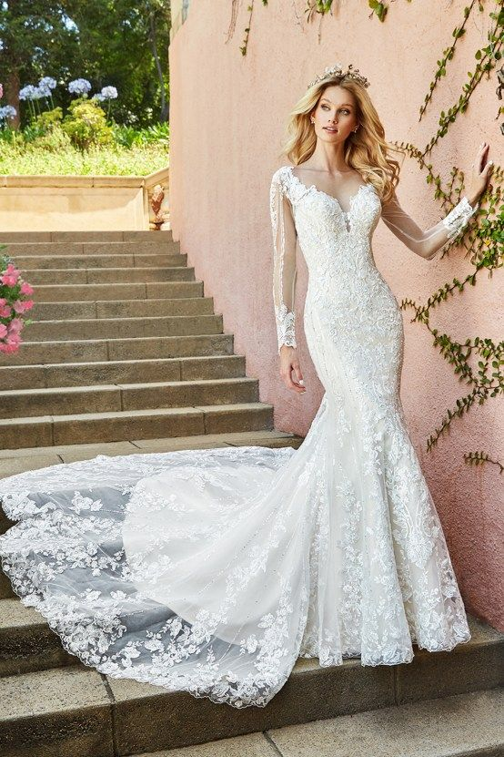 10 Stunning Wedding Dresses By Destination – Val Stefani Tamar Dress with  embellished lace   sheer long sleeves 2529b2d43ae9
