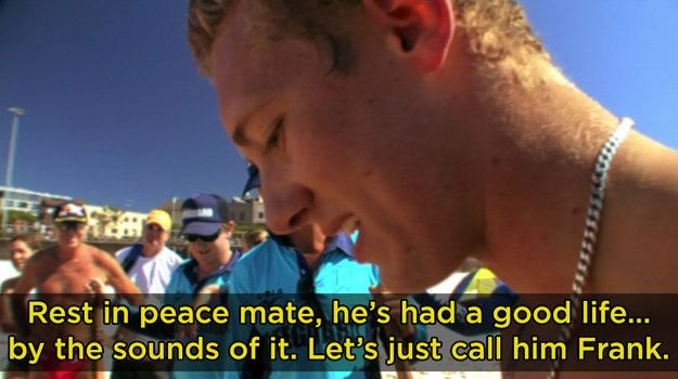 "When a dead shark in the water was causing panic, so they gave it a proper burial, complete with a touching eulogy. | 17 Times ""Bondi Rescue"" Was Peak Straya --WHAT IS THIS SHOW AND WHERE CAN I WATCH IT"