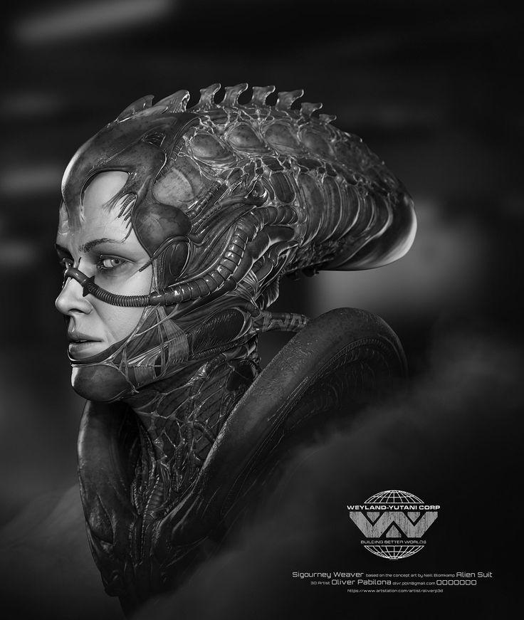 Sigourney Weaver - Alien Suit - Sculpt, Oliver Pabilona on ArtStation at https://www.artstation.com/artwork/Y8xqb