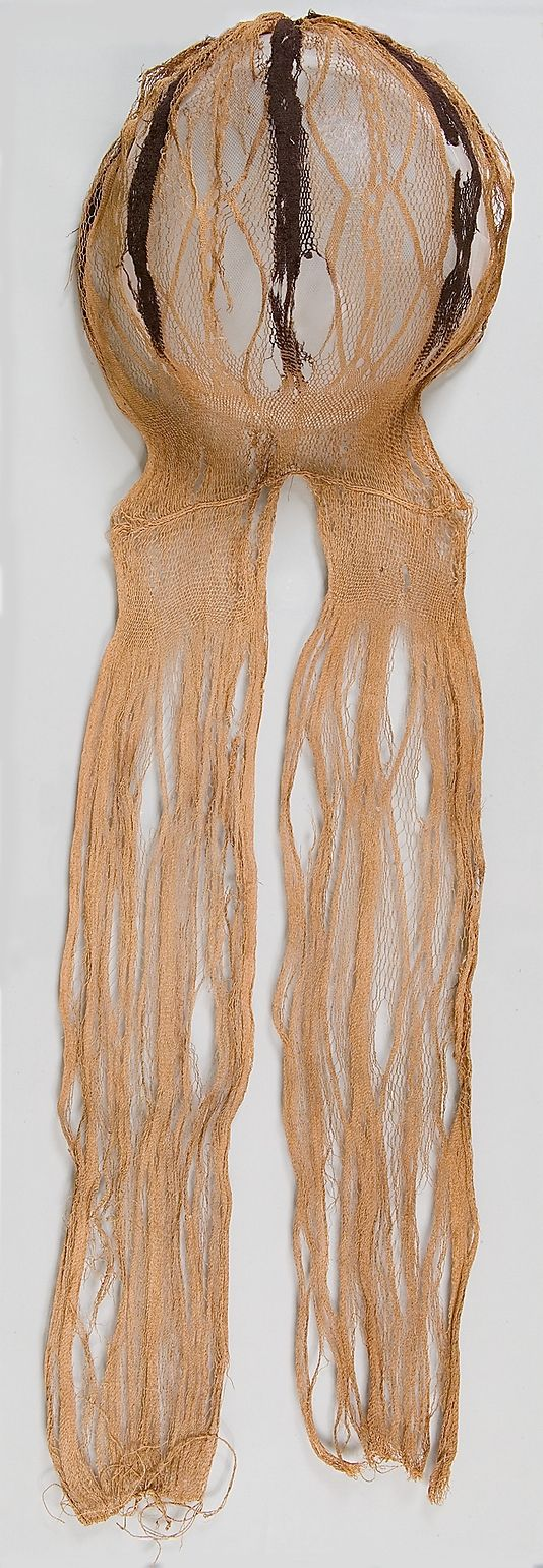 Headdress from the Head of a Mummy of a Child   linen and wool, 2nd-4th C Egypt   Metropolitan Museum of Art accession no. 90.5.33