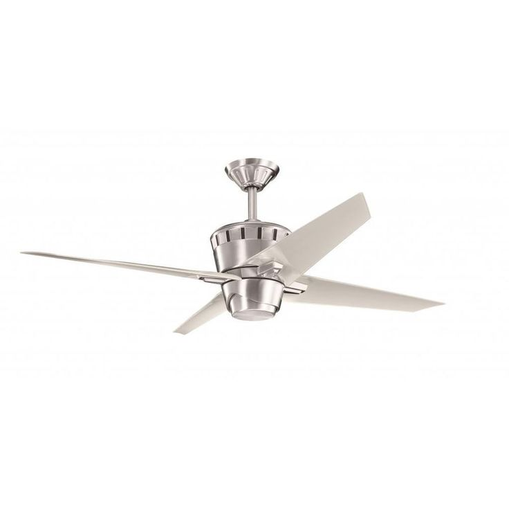 Contemporary Brushed Stainless Steel Ceiling Fan and Light Kit