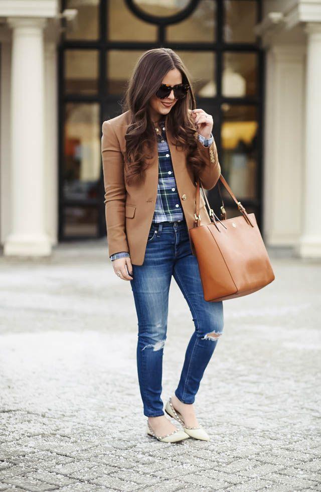 new england prep. - corilynn. Navy plaid shirt+distressed denim+natural studded pointed ballerinas+camel blazer+camel tote bag+sunglasses. Winter Smart Casual Outfit 2017