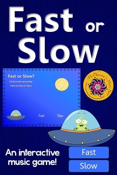 Elementary music tempo game! Your classes will love the interactive game while reviewing if the sound is fast or slow! Perfect for your kindergarten or first grade Orff and Kodaly activities!