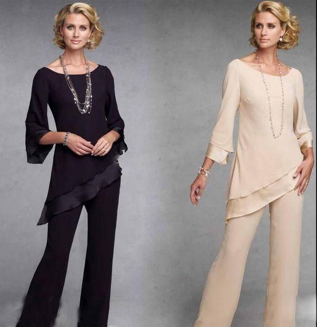 Mujeres elegantes de La Gasa Larga Madre Scoop Escote de Tres Cuartos de La Blusa y Pantalones de Los Trajes para La Boda Formal Novio Madre Paño 2015