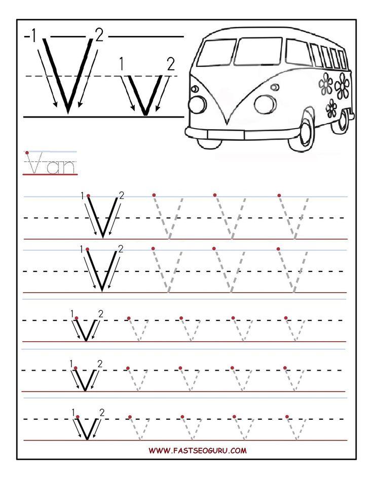 printable letter v tracing worksheets for preschool alphabet letter tracing worksheets. Black Bedroom Furniture Sets. Home Design Ideas