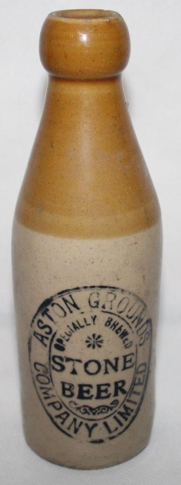Aston Grounds - Birmingham - Antique Ginger/Stone Beer Bottle - Rare    eBay