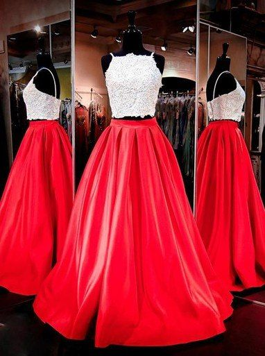 96de220e5b0 Two Piece Square Beading Pockets Ruched Red Prom Dress  promdress   promdress2019 longpromdress cheappromdress promdressunder200 promdressunder100  ...