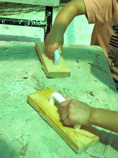 Homemade trowels for the sandbox. A handy parent could make a few of these for the class.