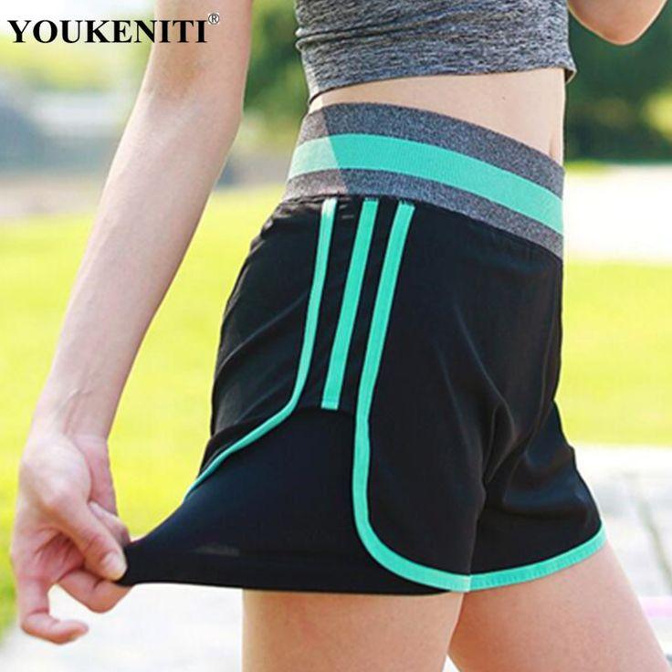 Summer Hot Stripe GYM Shorts Women Sports Marathon Clothings Yoga Shorts Workout Shorts High Waist Elastic Female Ladies Shorts