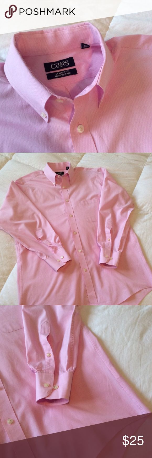 Size 15.5 Wrinkle Free Dress Shirt 34/35 Size 15.5 34/35 pink dress shirt. Perfect for Easter. Classic fit. Wrinkle free. Chaps Shirts Dress Shirts