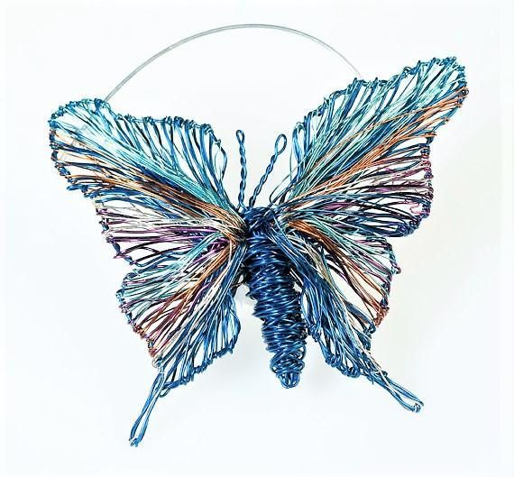 Butterfly brooch, cute pin, navy blue, wire jewelry, insect brooch, butterfly art jewelry, autumn, unique birthday gift women, modern boho  Handmade navy blue, art brooch, cute pin, made of colored copper and silver wire.The height of the butterfly, insect art brooch, wire jewelry, is 4.5cm (1.77in), and the width (body with wings), of the modern boho, autumn gift for women, is 5.2cm (2.05in). The pin of the unique birthday gift is handmade silver.