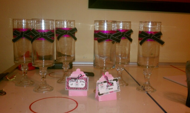 Dollar store vases turned party centerpieces