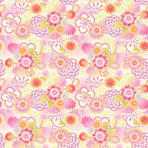 「フリー素材 レトロ和柄パターン」 「賽河まだら盲目花」のイラスト Pixiv Pyladies Tokyo