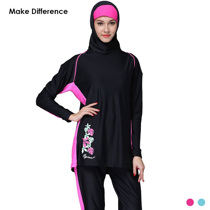 Make Difference Straight Cut Muslim Swimwear Modest Womens Islamic Swimsuit Plus Size Full Cover Long Hijab Swimwear Burkinis scarves -- AliExpress Affiliate's Pin.  Details on this product can be viewed by clicking the image