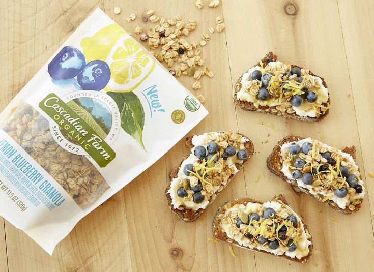 This extra easy toast makes a great post-workout bite, breakfast on the go, or quick dinner. The creamy ricotta paired with the lemon berry crunch of Cascadian Farm Organic Lemon Blueberry Granola makes a satisfying snack any time of the day.