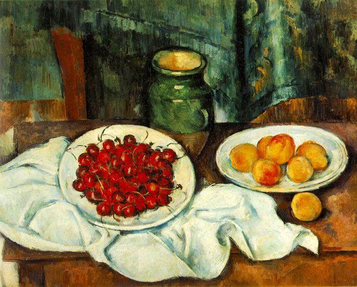 Сезанн. Натюрморт с вишнями и персиками