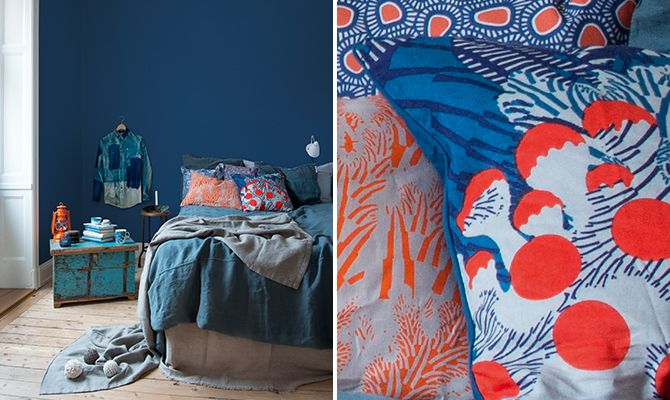 Marine and coral as an creative, yet calm, alternative to the light bedroom. A soothing sea!