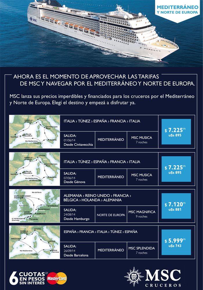¡Navegá por el Mediterráneo y Norte de Europa!. Con #MSC tenés las mejores tarifas, reservá hoy tu crucero!