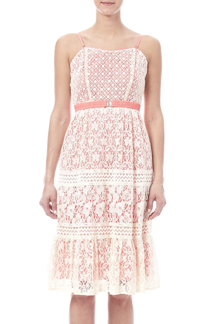 Crochet top with floral lace dress, with removable straps and belt.Lined.   Lacy Coral Dress by Champagne & Strawberry. Clothing - Dresses - Casual Pittsburgh, Pennsylvania