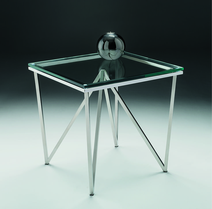 Pyramid Lamp Table - striking stainless steel pyramid profile topped with clear glass