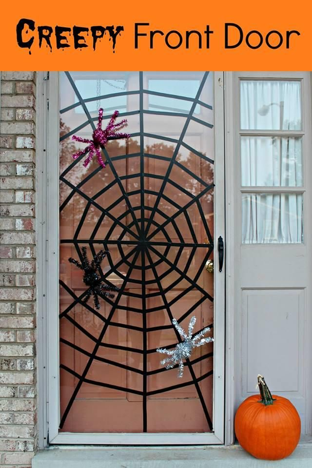 diy halloween diy washi tape spider web door decor