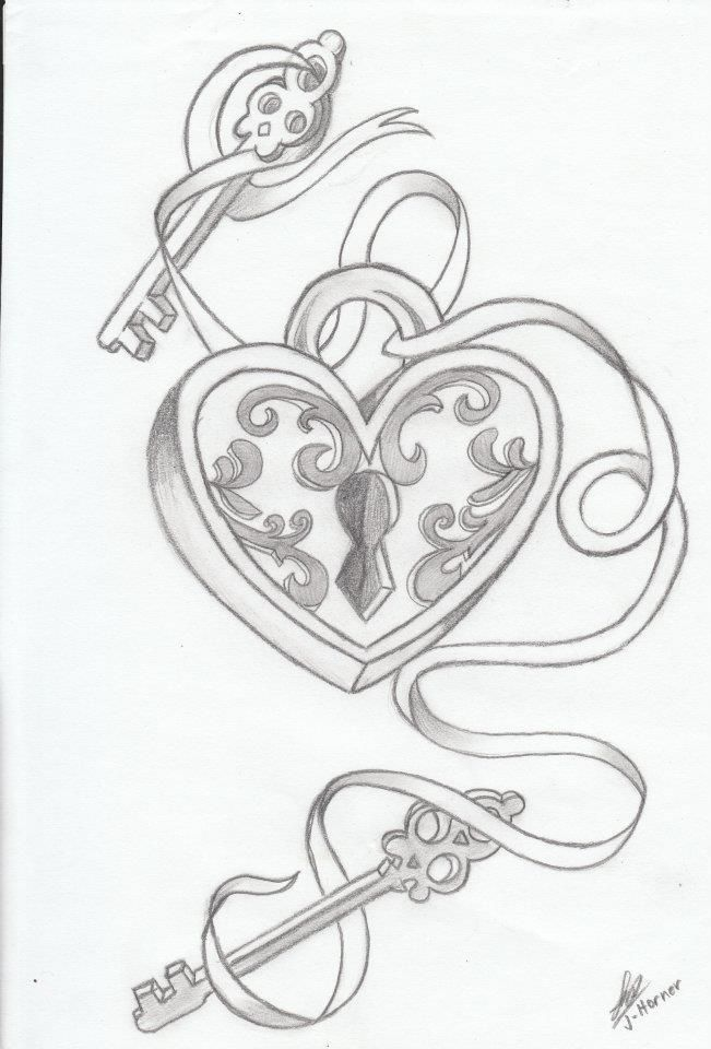It is a picture of Accomplished Heart Lock And Key Drawing