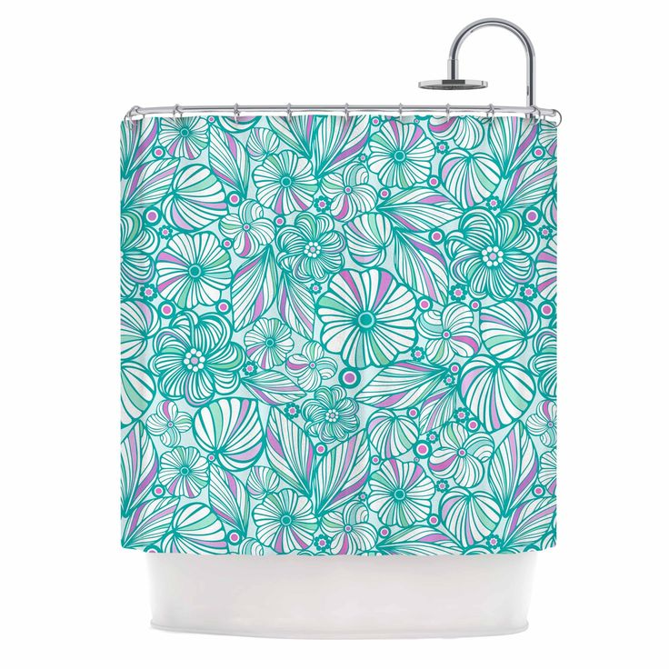 "Kess InHouse Julia Grifol ""My Turquoise Flowers"" Teal Pink Shower Curtain"
