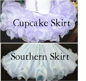 Pageant Cupcake Dress Sewing Patterns | Short or Long Skirts - Made with Sparkle Organza or Chiffon