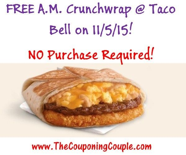 ***HOT FREEBIE*** Get a FREE AM Crunchwrap @ Taco Bell on 11/5/15! No PURCHASE REQUIRED! Click the link below to get all of the details about this FREEBIE ► http://www.thecouponingcouple.com/free-am-crunchwrap/  #Coupons #Couponing #CouponCommunity  Visit us at http://www.thecouponingcouple.com for more great posts!