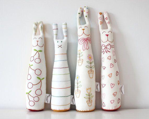 Stuffed Toy Bunny Handmade with Stripes. £23.00, via Etsy.