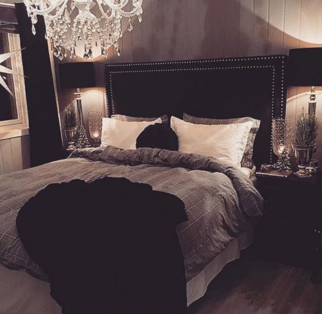 black headboard and dark grey bedding