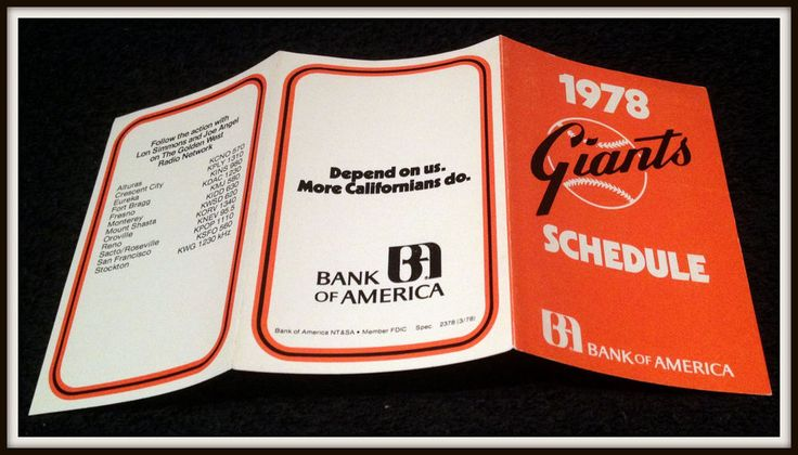1978 SAN FRANCISCO GIANTS BANK OF AMERICA BASEBALL POCKET SCHEDULE FREE SHIPPING #sfgiants #Pocket #PocketSchedules