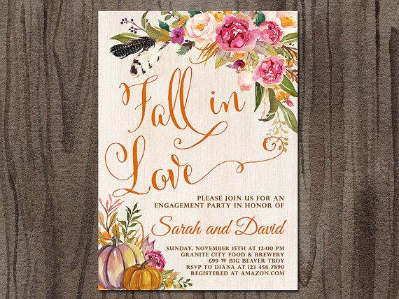 engagement party invitation fall in love autumn engagement party invitation boho tribal rustic pumpkin engagement party shower