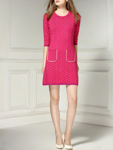 Jacquard Wool Knitting Mini Dress