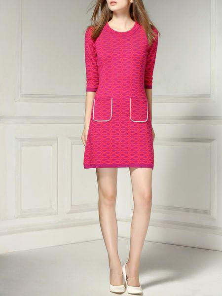 Jacquard Wool Knitting Mini Dress