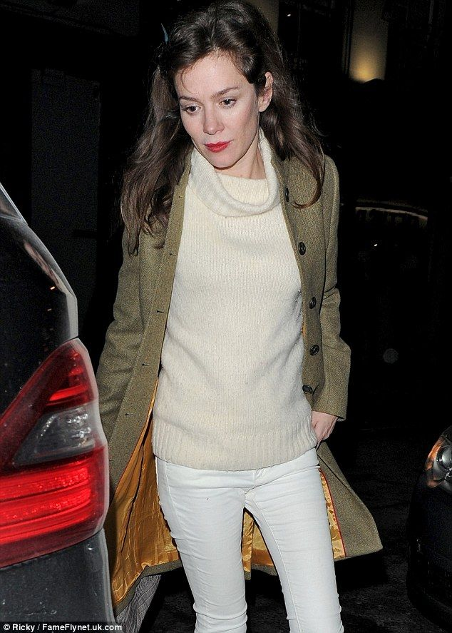 Theatre girl: Anna Friel made an appearance at the club casually dressed in a wooly jumper