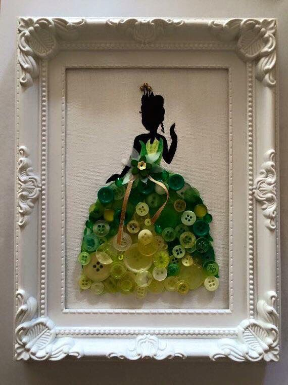 Tiana from the princess and the frog button silhouette wall art