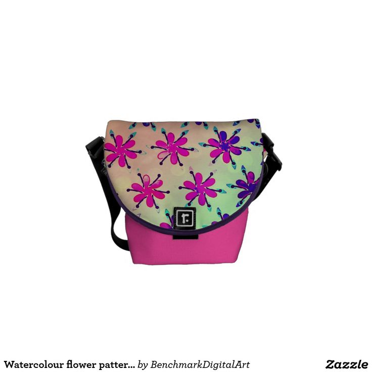 Watercolour flower patterned bag small pink messenger bags