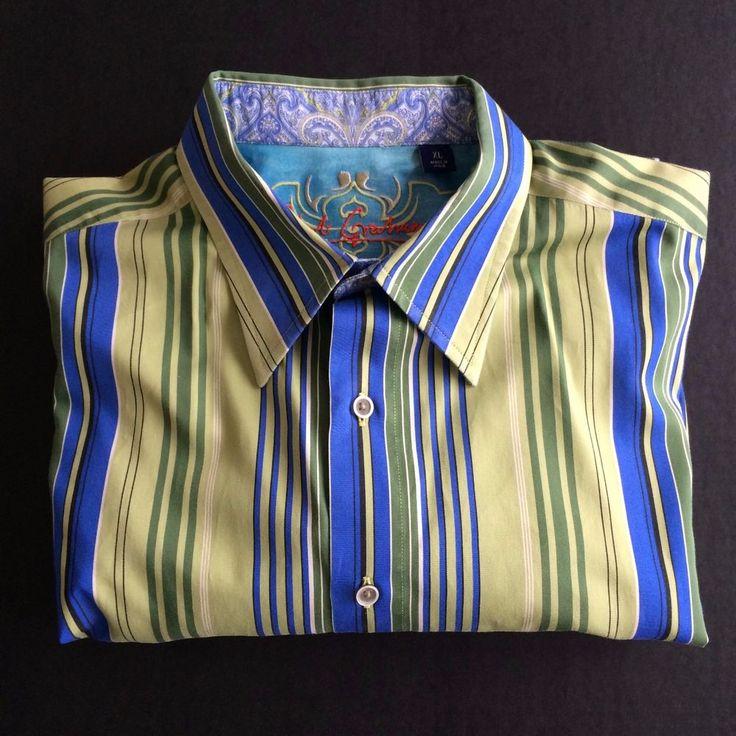 Robert Graham Shirt Green Blue Stripes Paisley Flip Cuff Knowledge Wisdom Truth #RobertGraham #ButtonFront