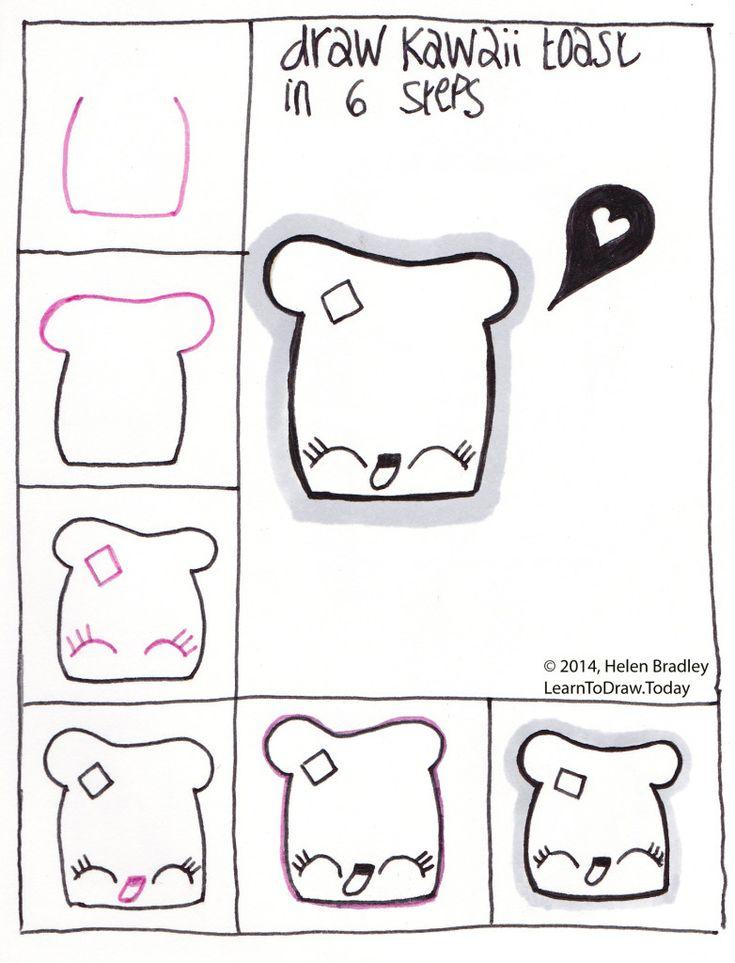 Draw cute kawaii toast step by step