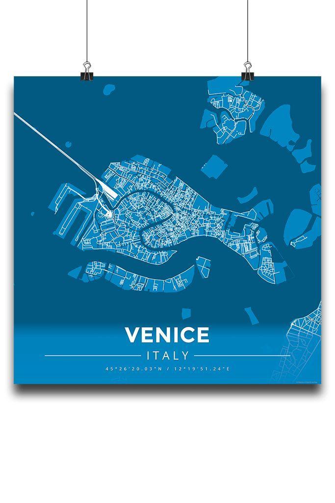 Premium Map Poster of Venice Italy - Modern Blue Contrast - Unframed - Venice Map Art